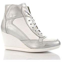 DOLCE PIETRO skórzane białe srebrne botki damskie na koturnie sneakersy - biały