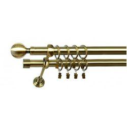 Karnisz Podwójny MARTA Ø19/19mm Kula : dlugosc karniszy - 280 cm, Rodzaj - Metalowy, Kolor Karnisza - Chrom, Mocowanie - Ścienne