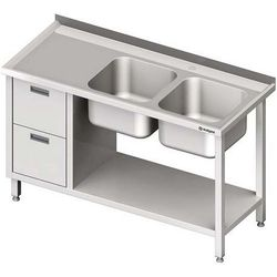 Stół ze zlewem dwukomorowym z dwiema szufladami i półką STALGAST 1400x600x850 prawy