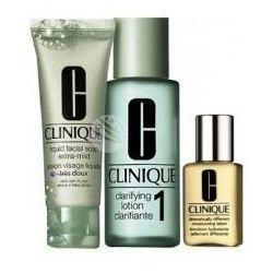 SET Clinique 3step Skin Care System1 (cera sucha/bardzo sucha) (W) mydło do twarzy 50ml + płyn złuszczajacy 200ml + krem nawilżający 30ml
