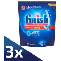 3 x FINISH 72szt Powerball All in 1 Max Shine&Protect Tabletki do