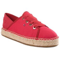 Espadryle TOMMY HILFIGER - Th Metallic Lace Up Espadrille FW0FW02218 Tango Red 611
