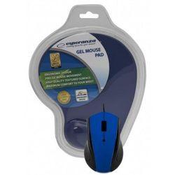 Mysz przewodowa z podkładką żelową Niebieska Esperanza EM125