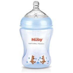 Nuby, butelka profilowana, dekorowana, wolny przepływ, niebieska, 240 ml Darmowa dostawa do sklepów SMYK