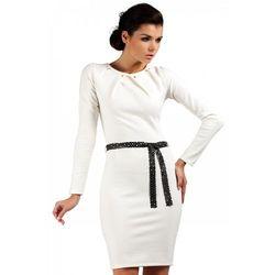 Sukienka ołówkowa z ćwiekami MOE043 ecru