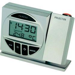 Zegar radiowy z budzikiem i projektorem wyświetlającym godzinę na ścianie, srebrny