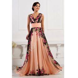 Kwiatowa długa suknia koralowo różowa | kwiatowa elegancka sukienka na wesele, studniówki