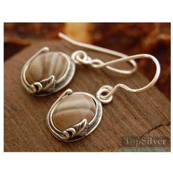 ARCO - srebrne kolczyki z krzemieniem pasiastym