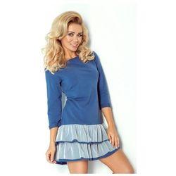 106-1 Sukienka z falbankami i SIATKĄ - niebieska + ecru