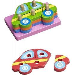 Klocki drewniane BABY&MORE MAKD-93071 Układanka Samochody