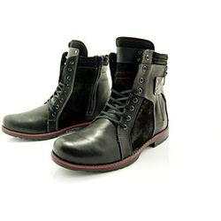 KENT 237 CZARNY+WELUR - Wysokie męskie buty zimowe ze skóry