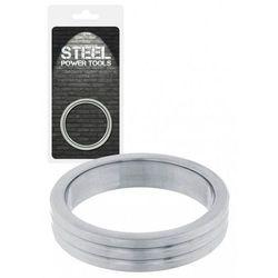Steel Power Tools Acorn Ring Ribbed 40 mm Pierścień na penisa ze stali nierdzewnej