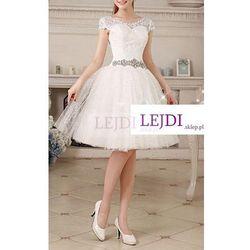 Unikatowa tiulowa sukienka z gipiurowymi kwiatkami, kremowa biel