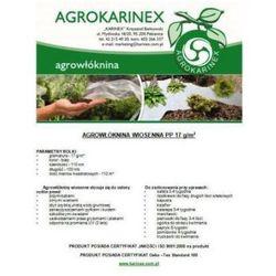 Agrowłóknina wiosenna PP 17 g/m2 biała 1,1 x 100 mb. Rolka o wadze 2,4 kg.