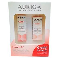 Auriga - Flavo-C Forte Serum + SI-Nails - Zestaw Flavo C - Serum intensywnie regenerujące z witaminą C + Wzmacniająca odżywka do paznokci - 15 ml + 12