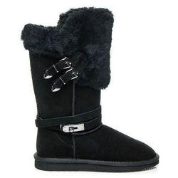 Śniegowce Sinly Skórzane czarne mukluki ciepłe