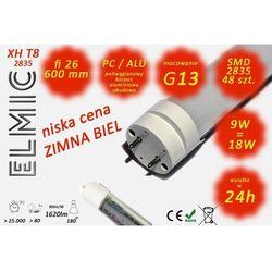 Świetlówka liniowa LED SMD 48 szt. XH T8-2835 fi 26x600 9W 230V 180st. 6500K Zimna Biel ELMIC