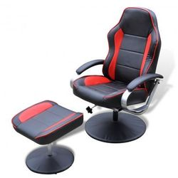 Odchylany fotel TV ze sztucznej skóry czarny i czerwony z podnóżkiem Zapisz się do naszego Newslettera i odbierz voucher 20 PLN na zakupy w VidaXL!