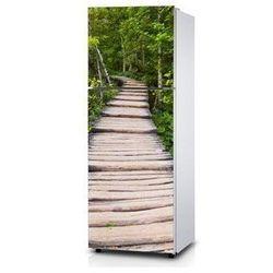 Naklejka na lodówkę - Drewniane schody - Naklejka laminowana