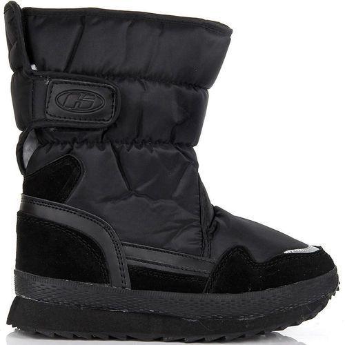 HASBY półskórzane czarne buty zimowe dziecięce śniegowce - czarny
