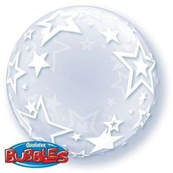 Gwiazdki kula transparentny bubble deco balon qualatex 24""