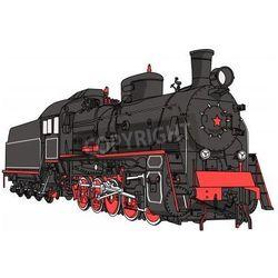 Fototapeta Wielki czarny lokomotywa z rury odizolowane na białym