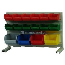 Stojak dla pojemników warsztatowych, wym. 380 x 670 x 270 mm - 12 pojemników (Pojemniki z pojemnikami)