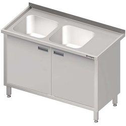 Stół ze zlewem dwukomorowym z szafką STALGAST 1300x600x850 lewy
