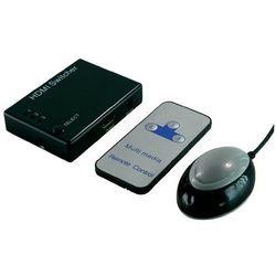Rozdzielacz splitter HDMI, Logilink, 3 x IN => 1 x OUT, pozłacane wtyki, pilot