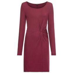 43f685cb66 Sukienka z dżerseju z ozdobnym przewiązaniem bonprix czerwony klonowy