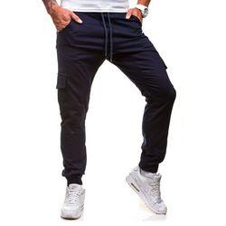 Granatowe spodnie joggery bojówki męskie Denley 0404GBR - GRANATOWY