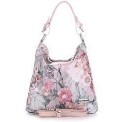 86df86cecf728 VITTORIA GOTTI Made in Italy Modna Torebka Skórzana w Kwiaty Multikolorowa  Różowa (kolory)