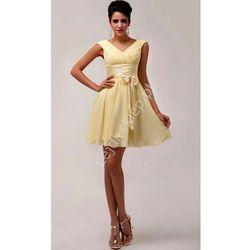Żółta sukienka szyfonowa| suknia dla druhny | żółte sukienki na wesele