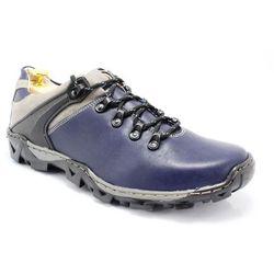 KENT 116 GRANATOWE - Trekkingowe buty męskie 100% skórzane - Granatowy
