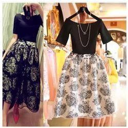 2016 New Fashion Vintage Elegant Two Pieces Female Dress Summer Twinset Women Organza Ball Gowns Flora Pattern vestidos