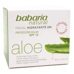 Babaria Krem nawilżający na dzień 20 % aloesu, kwas hialuronowy, olejek skwalen, witamina E, filtr SPF 15 50 ml