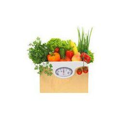 Foto naklejka samoprzylepna 100 x 100 cm - Świeże artykuły spożywcze w papierowej torbie z tarczy skali wagi