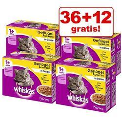 36 + 12 gratis! Whiskas 1+ saszetki, 48 x 100 g - Wybór dań drobiowych w galarecie