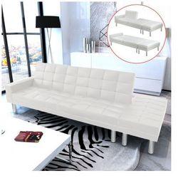 Rozkładana sofa z białej eko skóry Zapisz się do naszego Newslettera i odbierz voucher 20 PLN na zakupy w VidaXL!