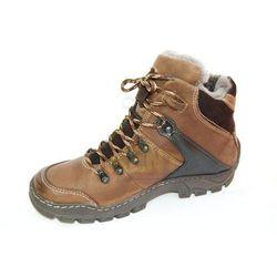KENT 120 BRĄZOWE - Wysokie buty zimowe, skóra, naturalne futro