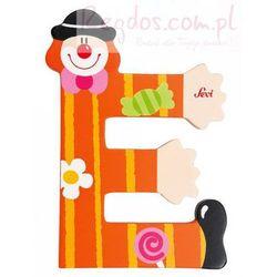 Drewniana literka E, Clown