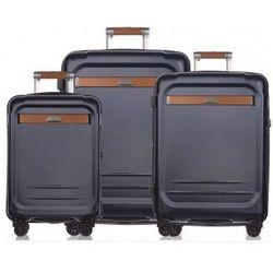 f0a3911540229 Komplet walizek PUCCINI PC020 zestaw walizek duża+ średnia+ mała/ kabinowa  kolekcja STOCKHOLM 4 koła twarda