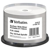 Verbatim DVD-R, DataLife PLUS, 50-pack, 4.7GB, 16X, 12cm, General, Standard, cake box, Wide Printable, do archiwizacji danych