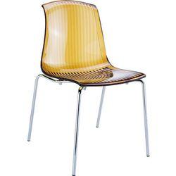 Designerskie krzesło z chromowanymi nogami do jadalni Siesta Allegra bursztynowe