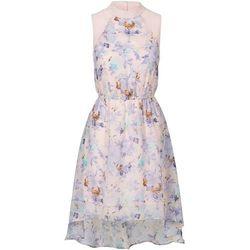 Sukienka z dłuższym tyłem bonprix brzoskwiniowy z nadrukiem