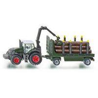 Traktor z Przyczepą z Balami Drewna