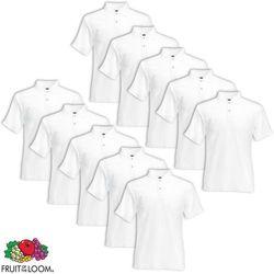 Fruit of the Loom 10 męskich, białych koszulek polo Loom, rozmiar L Darmowa wysyłka i zwroty