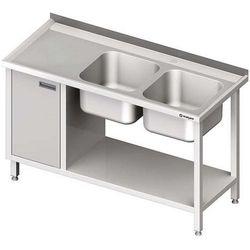 Stół ze zlewem dwukomorowym z szafką i półką STALGAST 1400x600x850 prawy