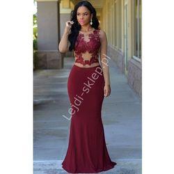 Długa bordowa suknia z gipiurowa koronką   bordowe sukienki wieczorowe