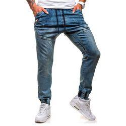 Granatowo-szary spodnie jeansowe joggery męskie Denley 0425K - GRANATOWO-SZARY